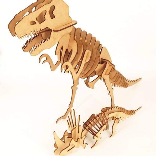 Wooden T-Rex and Triceratops Puzzles on white background
